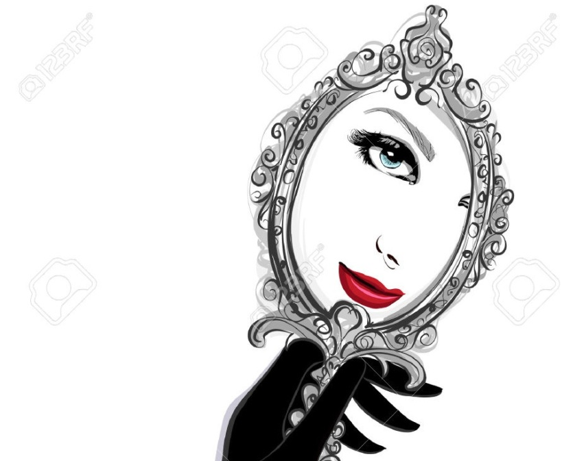 34460644-Femme-avec-des-gants-noirs-regardant-un-miroir-Vector-illustration-Banque-dimages-1